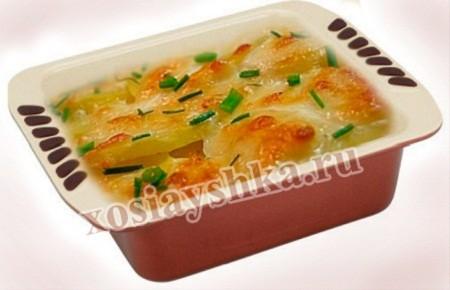 Окорок и фасоль достаточно мелко порубить, картофель нарезать тонкими кружочками. Смазать форму маслом, уложить слоями измельченные продукты. Взбить яйца с молоком,