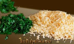 Тертый сыр и зелень кинзы