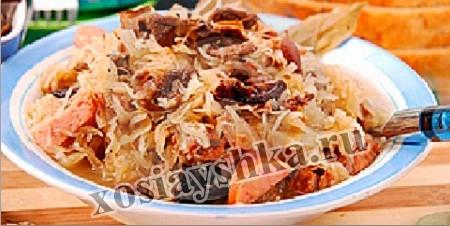 Закуска из белокочанной капусты с грибами
